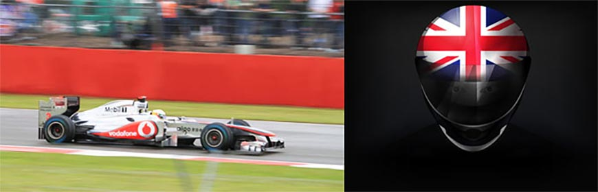 lewis hamilton in action at silverstone