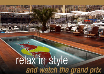 luxury pool with sun loungers and relax watch the grand prix message