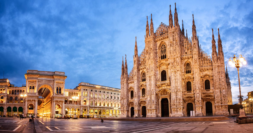 cathedral and square in milan italy