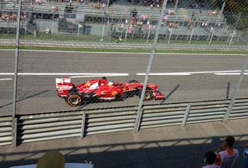 Ferrari F1 car racing at Monza