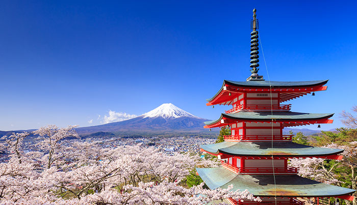 mount fuji and a traditional japanese building