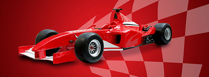 red f1 racing car with finishing flag
