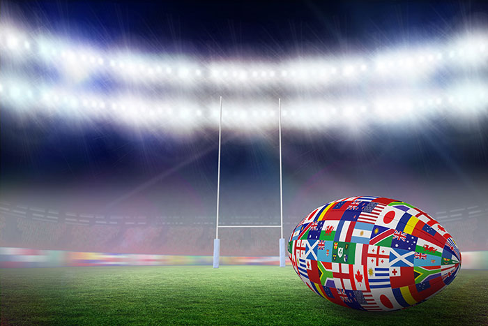 rugby ball with national flags